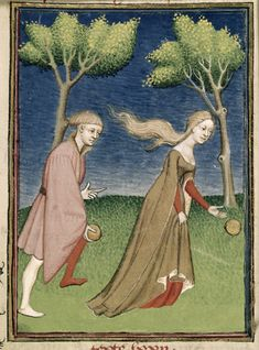 Harley 4431 Hoppenes and Atalante, c. 1410.  Look at that lovely dress, also uncovered hair and very racy neckline. ;)