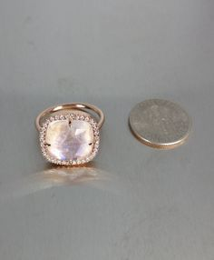 14 Karat Rose Gold Rainbow Moonstone Diamond Ring by KCDDiamonds
