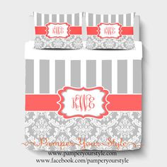 A personal favorite from my Etsy shop https://www.etsy.com/listing/219676424/stripe-and-damask-gray-and-coral