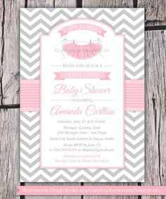 Tutu Cute Baby Shower Invitation  Chevron Pink Grey Baby Shower Girl Baby Shower