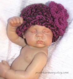 My baby KJ - made by Pam Morris at Stork's Landing Reborn Nursery!  Baby Girl Hat  READY to SHIP  Photo Prop  Newborn by pixieharmony, $20.95