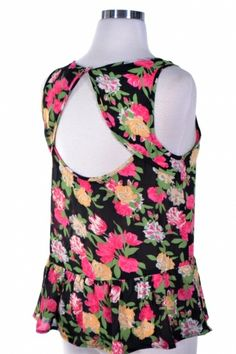 FLORAL PRINT OPEN BACK TANK TOP