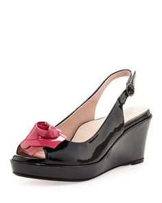Star+Patent+Flower+Slingback+Wedge,+Black/Dusty+Rose+by+Taryn+Rose+at+Neiman+Marcus.