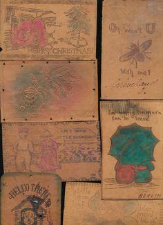 Leather Postcards 8 1900's Mixed Lot Vintage Santa Dog Bug Kids etc GGG328 | eBay