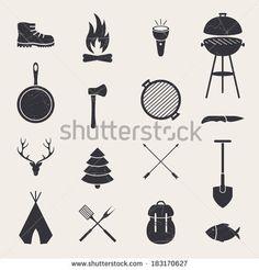 Vector Illustration of Camping Equipment Icons by Ramona Kaulitzki, via Shutterstock