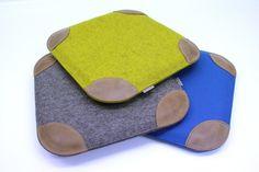 Sitzkissen aus Filz mit Lederecken von Alpenfilz - aus Liebe zum Detail auf DaWanda.com