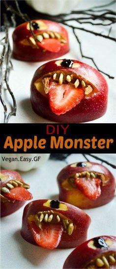 quick vegan Halloween apple monsters#vegan #healthy #Halloween