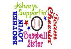 Baseball Sister - Subway Art - Baseball Applique - Machine Embroidery Design -  7 sizes on Etsy, $4.50