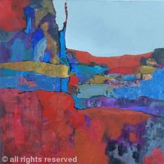 Red Landscape - Mixed media on canvas