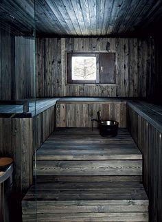 Tumma sauna on isännän mielestä paras osa kylpyhuonetta… Sauna Design, Home Gym Design, Design Design, Interior Design, Sauna House, Sauna Room, Rustic Saunas, Sauna Heater, Natural Swimming Pools