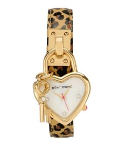 Betsey Johnson Watch, Women's Leopard Print Leather Charm Strap