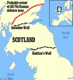 Hadrian's Wall had a bigger and older Scottish brother: Archaeologists's 10 year study uncovers 120 mile defence system built in AD to k. Map Of Britain, Roman Britain, Great Britain, Wall Maps, Hadrian's Wall, Scotland History, Jokes And Riddles, Ancient Rome, Ancient History