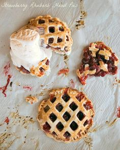 Strawberry Rhubarb Hand Pies Featured on Creative Spark Link Party by Weekend Craft Individual Pies, Roasted Walnuts, Candy Cakes, Hand Pies, Cream Pie, Dessert Recipes, Desserts, Summer Recipes, Love Food