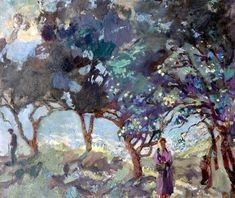 Duncan Grant, Mediterranean Scene with Olive Trees and Figures by the Sea