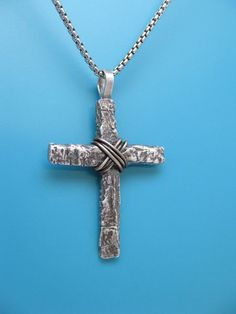 Corteza de plata Sterling para hombre Cruz por TheCaptiveHeart