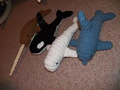 Ravelry: orca, narwhal, beluga and dolphin free crochet  pattern by Kitra Skene