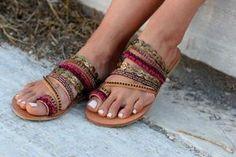 "Slip on artisanal sandals, Handmade Greek leather Sandals, Swarovski crystals, Boho Sandals, Ethnic leather sandals ""Aysel"" Lace Up Sandals, Suede Sandals, Gladiator Sandals, Flats, Flat Sandals, Pearl Sandals, Greek Sandals, Casual Heels, Bronze"