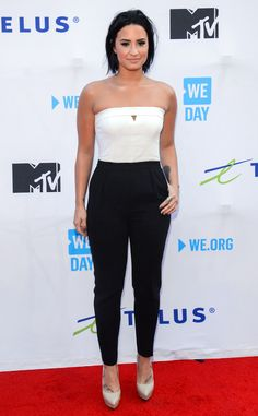 Demi Lovato from The Best of the Red Carpet What's not to love about this black-and-white colorblock jumpsuit and neutral pumps?