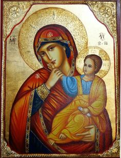 High quality hand-painted Orthodox icon of The Virgin Eleusa c. BlessedMart offers Religious icons in old Byzantine, Greek, Russian and Catholic style. Religious Images, Religious Icons, Religious Art, Byzantine Icons, Byzantine Art, Divine Mother, Mother Mary, Jesus And Mary Pictures, Hail Holy Queen