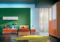 Kids Bedroom Design with Orange and Green Theme