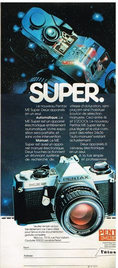 Publicité Advertising 1980 Appareil Photo Pentax ME Super | eBay