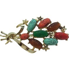 Multi Colored Scarabs Cabochon Brooch.  Vintage Costume Jewelry under $25 at Ruby Lane www.rubylane.com @rubylanecom