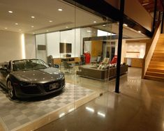 Amazing Car Showroom Design with Living Room: Luxury Garage Glass Door Sport Car The Car Cave