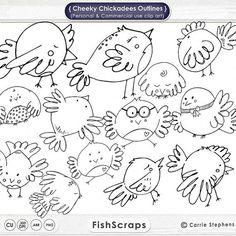 Bird Digital Stamps - Line Art - Bird ClipArt - Cheeky Chickadees - B…