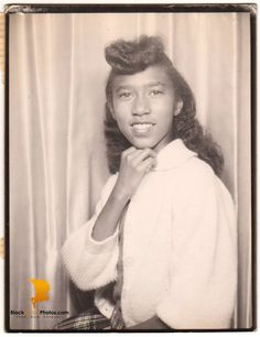 Vintage African American Woman Old Photo Booth Picture Black History Americana