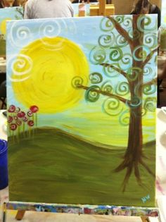 Huge one for new daycare play room like 5ft by 8 ft easy DIY swirly landscape painting