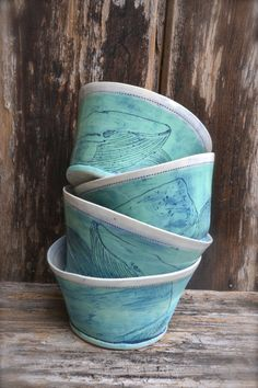 Whale/Waves set of 4 decorated porcelain bowls by ljfceramics
