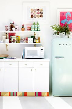 ming Smeg + Ikea kitchen cabinets, customized with new handles and unique toe kick