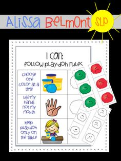 Working with children who love Play-Doh? Find yourself re-directing and reminding children to play appropriately with play-doh? This visual  chart supports and reinforces positive play with Play-Doh! Sets of 3 colored or black-and-white tokens, with happy or sad faces, can be placed on the chart to monitor appropriate Play-Doh use.