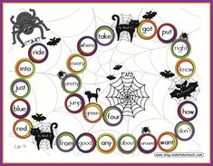 Halloween themed game boards for sight words, blends/digraphs and CVC words.