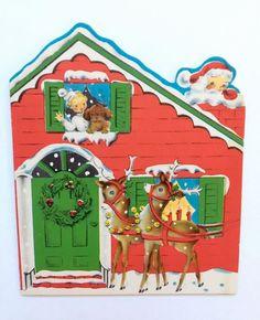 Santa and Reindeer Visiting A House Christmas by TreasuresResold Ghost Of Christmas Past, Old Christmas, Old Fashioned Christmas, Christmas Scenes, Retro Christmas, Christmas Items, Vintage Christmas Images, Die Cut, Vintage Santas