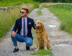 Our director sporting our brick knitted tie with the family golden retriever, Whiskey! Click through to shop this look!