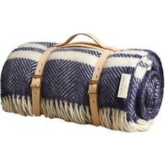 Plum & Ashby Check Picnic Blanket In Blue And White ($77) ❤ liked on Polyvore featuring home, bed & bath, bedding, blankets, blanket, filler, bags, accessories, wool bedding and picnic blanket