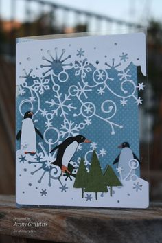 Penguin Slide using Memory Box dies - the blue distressed dots card stock is Bluebird, not Blueberry (noted incorrectly in blog post) ~ by Jenny Griffiths and everything is available at Stampassion.com :)
