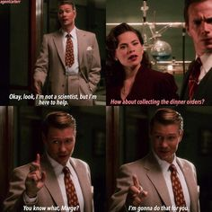 This was the best part. Tompson took orders from PEGGY. Peggy used to take orders from him. And he's taking lunch orders- same as Peggy once had to do. Karma, Tompson.