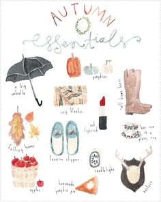 Autumn Essentials ... sucker for water color illustrations