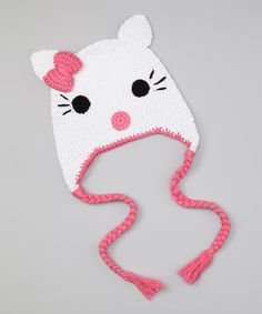 Take a look at this Pink & White Kitty Earflap Beanie by Butterflies & Moonbeams on #zulily today!