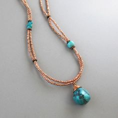 Copper Glass Bead Wire Wrapped Turquoise Necklace Double