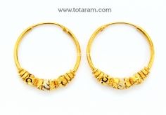Gold Hoop Earrings Ear Bali In 22k Ger6541 With A List Price Of 231 99 Indian Jewelry From Totaram Jewelers