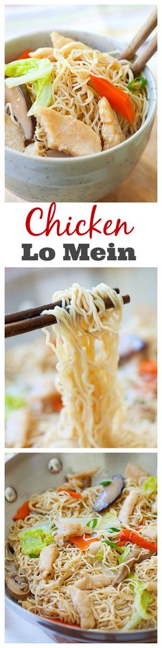 Lo Mein recipe with chicken. Easy, healthy, non-greasy Chicken Lo Mein with vegetables that is much better than the Lo Mein at Chinese takeout, make it at home with this easy recipe from rasamalaysia.com