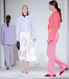 Models walk the runway for the Victoria Beckham