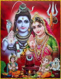 Family Shiva and Parvati Shiva Parvati Images, Shiva Shakti, Shiva Art, Hindu Art, Bhagavad Gita, Lord Hanuman Wallpapers, Lord Shiva Hd Images, Lord Shiva Family, Lord Shiva Painting