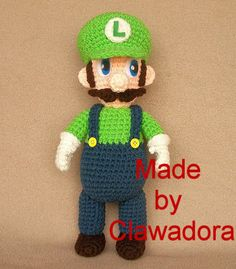 You can't make Mario without his best friend Luigi. This is an advanced crochet pattern that you will have so much fun making. Giving this plushie as a gift is a great idea. Scroll to the bottom for this pattern. Crochet Crafts, Crochet Dolls, Yarn Crafts, Crochet Projects, Knit Crochet, Amigurumi Patterns, Amigurumi Doll, Crochet Patterns, All Free Crochet
