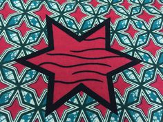 Made in Mali--African Wax Print Fabric--Ankara Fabric--Teal and Red Stars--African Fabric by the HALF YARD by MoreLoveMama on Etsy