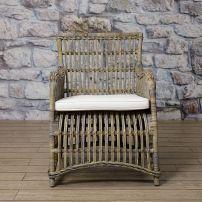 CASABLANCA lounge chair in cubu rattan in antique grey finish.
