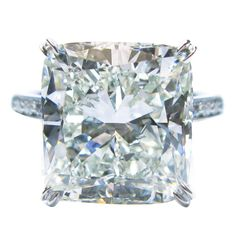 Graff 9.34 Carat GIA Cert Cushion Diamond Platinum Ring | From a unique collection of vintage engagement rings at https://www.1stdibs.com/jewelry/rings/engagement-rings/